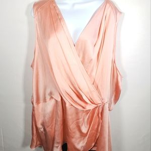 Melissa Mcarthy Coral Flowy Silk Style Top Size 4X